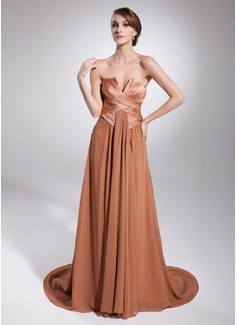 A-Line/Princess Scalloped Neck Court Train Chiffon Charmeuse Evening Dress With Ruffle