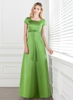 Vestidos princesa/ Formato A Decote quadrado Longos Cetim Vestido de madrinha com Curvado