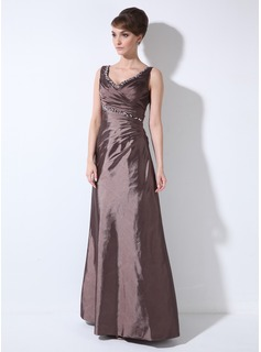 Sheath V-neck Floor-Length Taffeta Mother of the Bride Dress With Ruffle Beading (008003191)