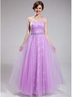 A-Line/Princess Sweetheart Floor-Length Tulle Lace Prom Dress With Ruffle Beading Sequins