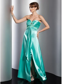 Empire Sweetheart Floor-Length Charmeuse Evening Dress With Ruffle Beading Split Front