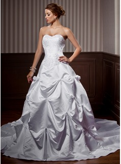 A-Line/Princess Sweetheart Chapel Train Satin Wedding Dress With Embroidered Ruffle Beading