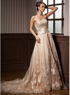 A-Line/Princess Strapless Court Train Organza Satin Wedding Dress With Ruffle Lace Beadwork