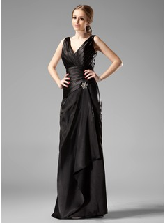Sheath V-neck Floor-Length Charmeuse Bridesmaid Dress With Ruffle Crystal Brooch (007001754)