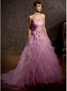 Ball-Gown Sweetheart Court Train Taffeta Tulle Wedding Dress With Ruffle Flower