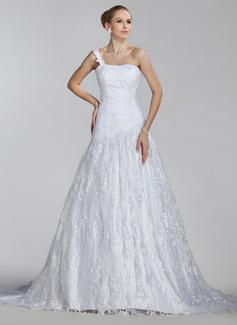 Corte A/Princesa Un sólo hombro Cola corte Satén Encaje Vestido de novia con Volantes