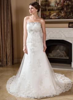 Vestidos princesa/ Formato A Sem Alças Cauda longa Tule Vestido de noiva com Bordado Apliques de Renda