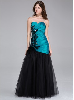 Trumpet/Mermaid Sweetheart Floor-Length Taffeta Tulle Prom Dress With Ruffle Lace Beading Feather Flower(s)