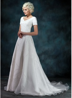 A-Line/Princess V-neck Sweep Train Organza Satin Wedding Dress With Beadwork Appliques (002000393)