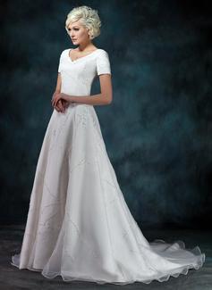 Vestidos princesa/ Formato A Decote V Cauda de sereia Cetim Organza de Vestido de noiva com Bordado Apliques de Renda
