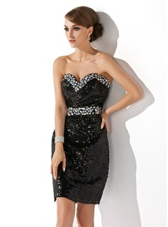 Sheath Sweetheart Knee-Length Sequined Cocktail Dress With Beading (016021255)