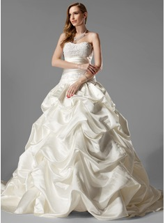 Ball-Gown Sweetheart Chapel Train Satin Wedding Dress With Ruffle Lace