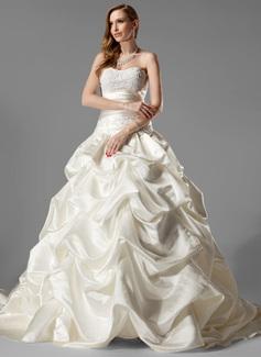 De baile Coração Cauda longa Cetim Vestido de noiva com Pregueado Renda