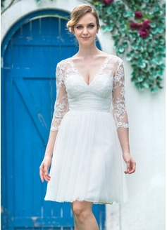 Corte A/Princesa Escote en V Hasta la rodilla Tul Encaje Vestido de novia con Volantes Lazo