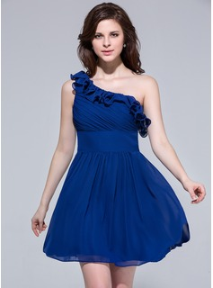 A-Line/Princess One-Shoulder Short/Mini Chiffon Bridesmaid Dress With Cascading Ruffles