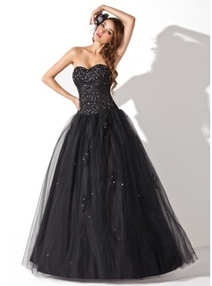 Ball-Gown Sweetheart Floor-Length Tulle Quinceanera Dress With Embroidered Sash Beading Sequins (021004678)