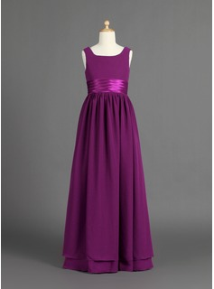 A-Line/Princess Scoop Neck Floor-Length Chiffon Charmeuse Junior Bridesmaid Dress With Ruffle (009022481)