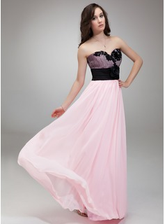 Empire Sweetheart Floor-Length Chiffon Charmeuse Prom Dress With Lace Flower(s) (018018799)