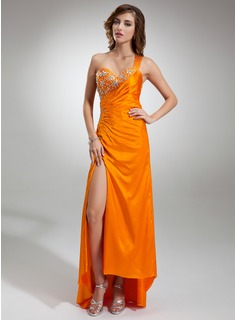 Sheath/Column One-Shoulder Asymmetrical Charmeuse Prom Dress With Ruffle Beading Split Front