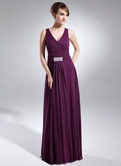 Vestidos princesa/ Formato A Decote V Chá comprimento De chiffon Vestido para a mãe da noiva com Pregueado Bordado