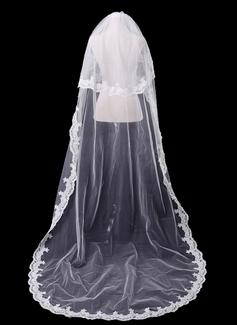 Dos capas Velos de novia catedral con Con Aplicación de encaje