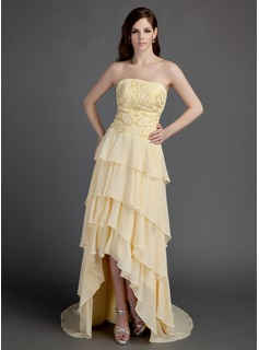 A-Line/Princess Strapless Asymmetrical Chiffon Prom Dress With Beading Appliques (018015682)