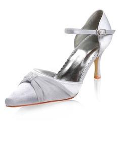 De mujer Satén Tacón stilettos Cerrados con Hebilla Diamante de imitación
