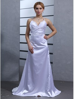 Empire V-neck Watteau Train Charmeuse Wedding Dress With Ruffle Lace Beadwork (002001177)