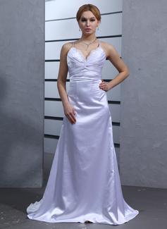 Corte imperial Escote en V Cola watteau Charmeuse Vestido de novia con Volantes Encaje Bordado