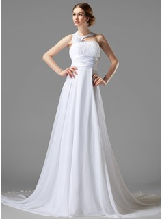 Empire One-Shoulder Court Train Chiffon Charmeuse Wedding Dress With Ruffle Flower(s)