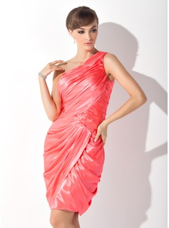 Sheath One-Shoulder Knee-Length Charmeuse Mother of the Bride Dress With Ruffle (008015137)