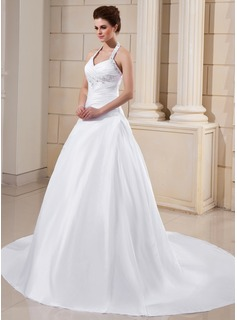 A-Line/Princess Halter Cathedral Train Taffeta Wedding Dress With Ruffle Lace Beadwork (002011754)