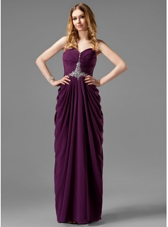 Sheath/Column Sweetheart Floor-Length Chiffon Prom Dress With Ruffle Beading