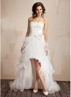 A-Line/Princess Strapless Asymmetrical Organza Satin Prom Dress With Lace Beading Flower(s)