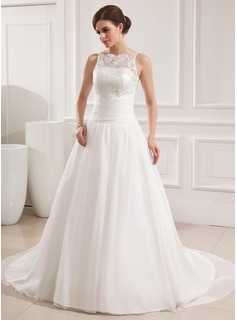 Ball-Gown Scoop Neck Chapel Train Chiffon Satin Wedding Dress With Ruffle Lace (002019534)