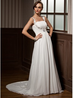A-Line/Princess Scoop Neck Court Train Chiffon Wedding Dress With Ruffle Beadwork (002011505)