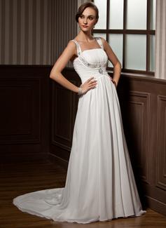 Corte A/Princesa Escote redondo Tren de la corte Chifón Vestido de novia con Volantes Bordado