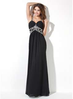 A-Line/Princess Sweetheart Floor-Length Chiffon Evening Dress With Ruffle Beading (017017409)