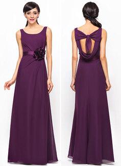 A-Line/Princess Scoop Neck Floor-Length Chiffon Satin Bridesmaid Dress With Ruffle Flower(s)