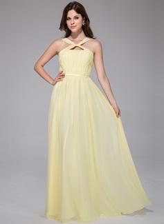 A-Line/Princess V-neck Floor-Length Chiffon Charmeuse Evening Dress With Ruffle