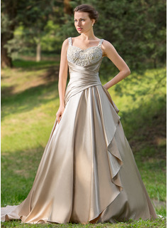 Ball-Gown Sweetheart Court Train Satin Wedding Dress With Ruffle Lace Beadwork (002024696)