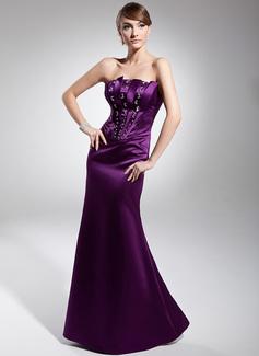 Trumpet/Mermaid Strapless Floor-Length Satin Evening Dress With Beading