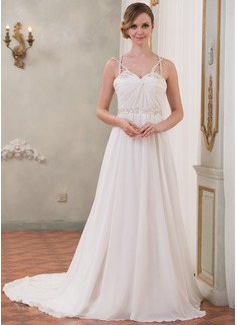 Corte A/Princesa Escote corazón Cola capilla Chifón Tul Charmeuse Vestido de novia con Volantes Bordado Lentejuelas