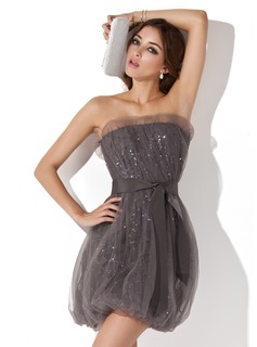 Sheath Scalloped Neck Short/Mini Tulle Cocktail Dress With Ruffle Sequins (016013722)