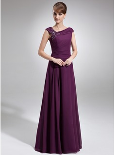 A-Line/Princess Cowl Neck Floor-Length Chiffon Mother of the Bride Dress With Ruffle Beading (008006218)