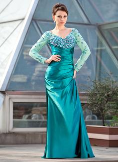 Etui-Linie Schulterfrei Sweep/Pinsel zug Tüll Charmeuse Kleid für die Brautmutter mit Rüschen Perlen verziert Pailletten