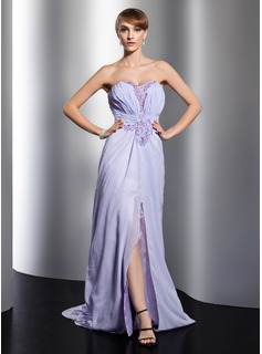 A-Line/Princess Sweetheart Watteau Train Chiffon Evening Dress With Ruffle Beading