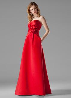 Empire Sweetheart Floor-Length Satin Bridesmaid Dress With Ruffle Beading Flower(s)