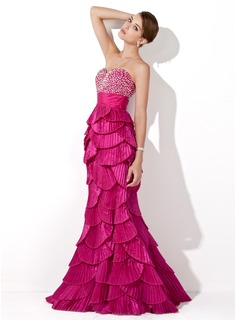 Mermaid Sweetheart Floor-Length Taffeta Prom Dress With Beading Sequins