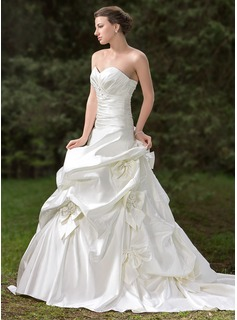 Ball-Gown Sweetheart Cathedral Train Satin Wedding Dress With Ruffle Lace Beadwork Flower(s) (002000661)